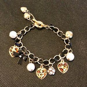 Jewelry - NWT Gold & Black Ribbon Charm Bracelet